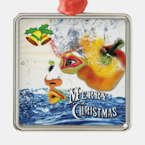 Food Consciousness Square Metal Christmas Ornament