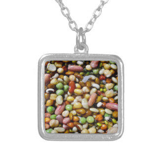 FOOD Craft Junkies :  Exotic Beans Spectrum Silver Plated Necklace