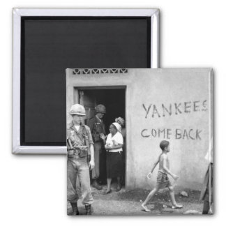 """Food distribution in front of """"Yankees _War Image 2 Inch Square Magnet"""