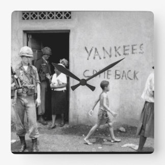 "Food distribution""Yankees come back""_war Image Square Wall Clock"