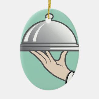 Food dome in hand ceramic ornament