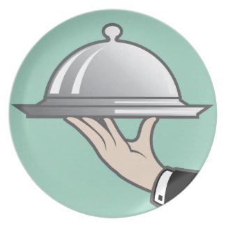 Food dome in hand dinner plate