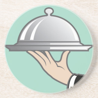 Food dome in hand drink coaster