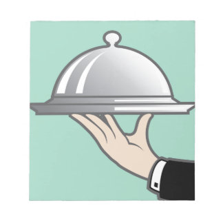 Food dome in hand notepad