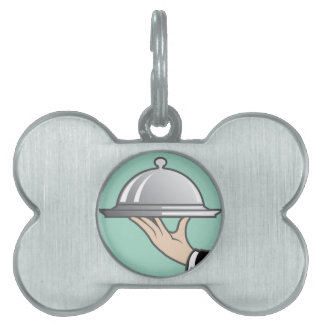 Food dome in hand pet name tag