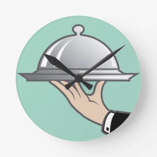 Food dome in hand round clock