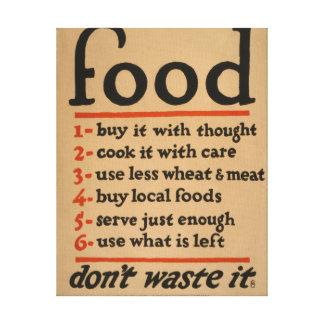 Food, Don't Waste It - Vintage War Poster Canvas Print