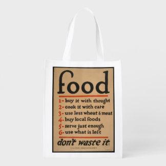 Food, Don't Waste It - Vintage War Poster Reusable Grocery Bag
