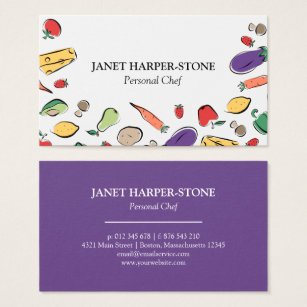 Chef business cards templates zazzle food doodles personal chef business card colourmoves