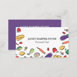 Chef business cards zazzle food doodles personal chef business card colourmoves