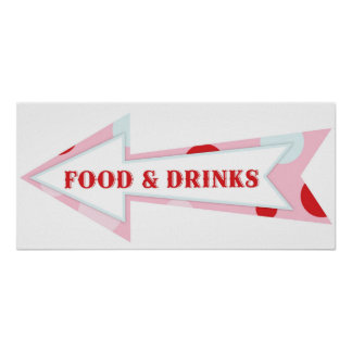Food Drink Arrow Sign Carnival Circus Birthday LFT Poster