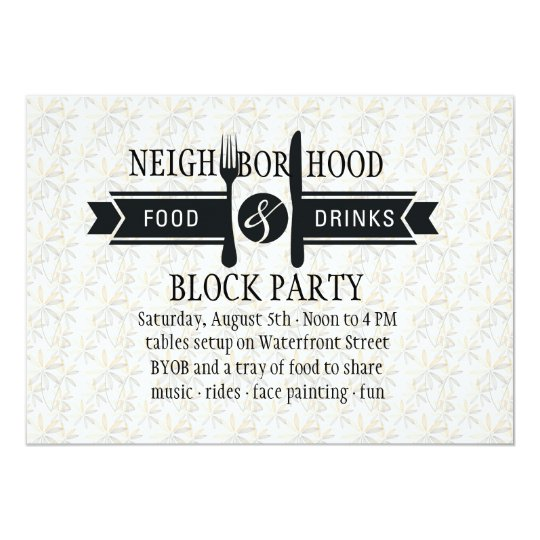 Block party invitations announcements zazzle food amp drinks invitation stopboris Images