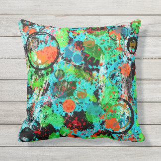 Food Fight Abstract Outdoor Pillow