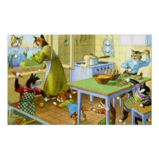 Food Fight at the Kitty Household Print