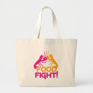 food fight! lobsters crayfish large tote bag