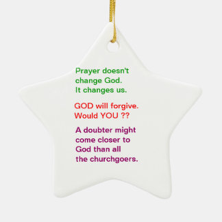 Food for thought : Practical Wisdom Words Double-Sided Star Ceramic Christmas Ornament