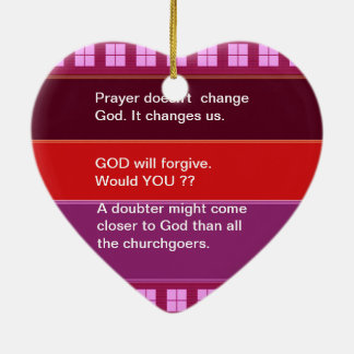 Food for thought : Practical Wisdom Words Double-Sided Heart Ceramic Christmas Ornament