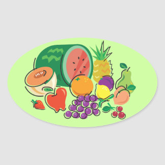 Food For Thought_Totally Fruity_Cornucopia Oval Sticker