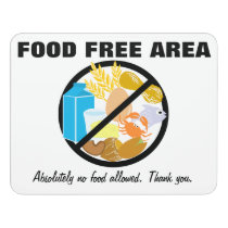 Food Free Area Allergy Friendly Zone Customizable Door Sign