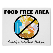 Food Free Area Allergy Friendly Zone Customizable Poster