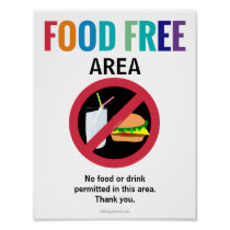 Food Free Area Classroom Customized Allergy School Poster