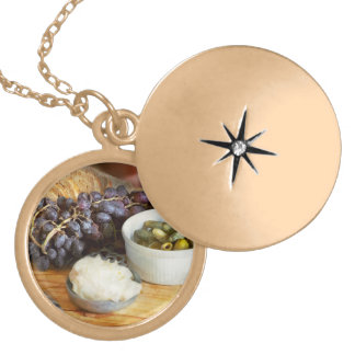 Food - Fruit - Gherkins and Grapes Locket Necklace