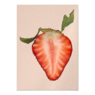Food - Fruit - Slice of Strawberry Custom Invitations