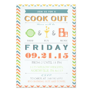 Food, Fun and Music Barbeque (BBQ) Cookout Invite