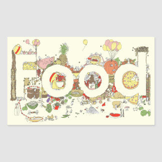 'Food' funny foodie creative text Rectangular Sticker