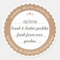 Food Gift Label Sticker Circle Kraft Paper