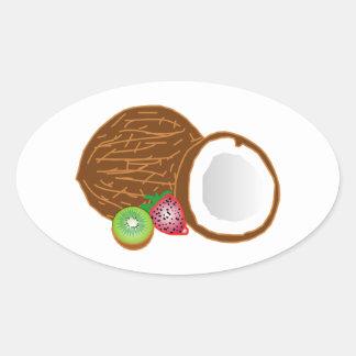 FOOD GRAPHICS COCONUT KIWI FRUIT STRAWBERRY GRAPHI OVAL STICKER