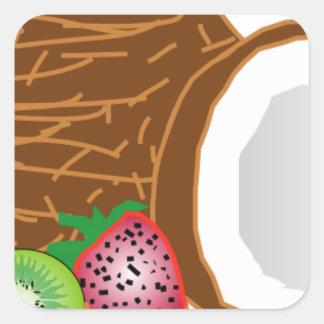 FOOD GRAPHICS COCONUT KIWI FRUIT STRAWBERRY GRAPHI SQUARE STICKER