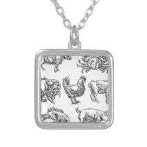Food Groups Grunge Hand Drawn Menu Options Icons Silver Plated Necklace
