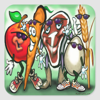 Food Groups Square Sticker