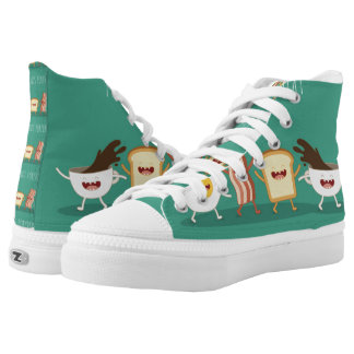 Food hipster,pattern,friends forever,egg,coffee, High-Top sneakers