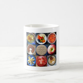 food in circles coffee mug