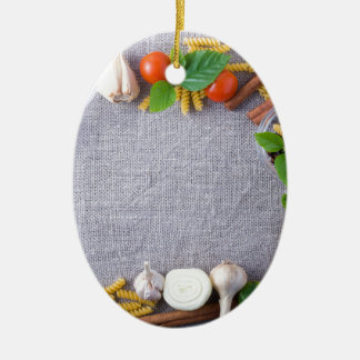 Food ingredients are installed as a frame ceramic ornament