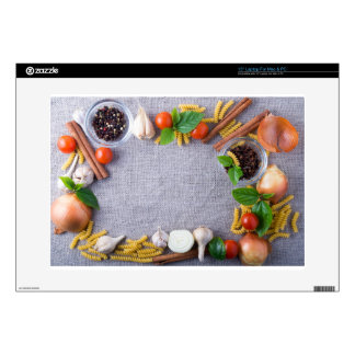 """Food ingredients are installed as a frame decals for 15"""" laptops"""