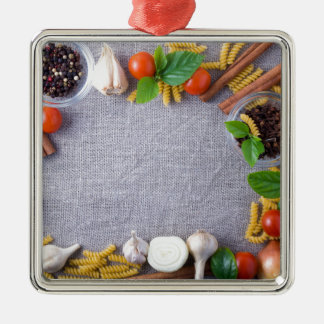 Food ingredients are installed as a frame metal ornament