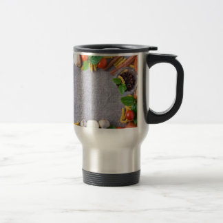 Food ingredients are installed as a frame travel mug