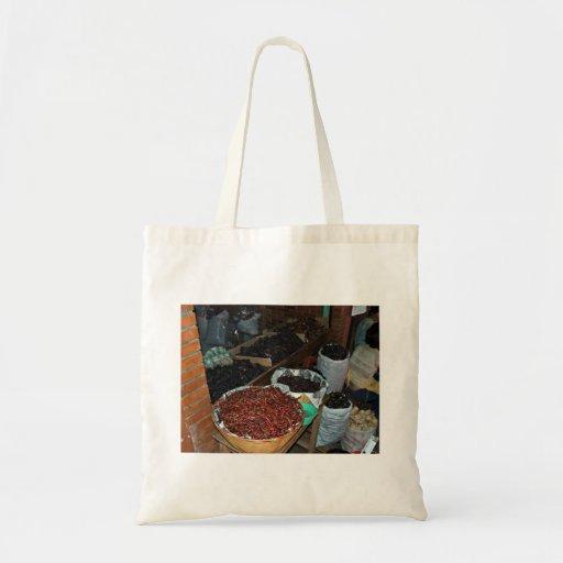 Food ingredients in a grocery tote bags