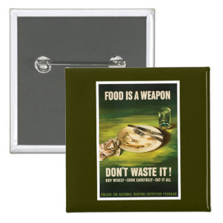 Food Is A Weapon - WW2 2 Inch Square Button