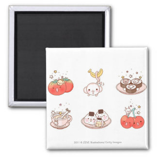 Food items displayed against white background 2 inch square magnet