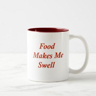 Food Makes Me Swell Two-Tone Coffee Mug
