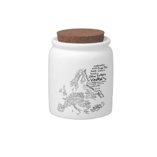 Food map of countries in Europe Candy Dishes