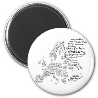 Food Map of Europe 2 Inch Round Magnet