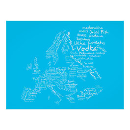 Food Map of Europe (Blue) Poster