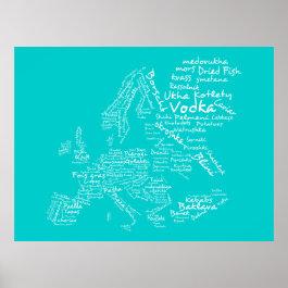 Food Map of Europe (Blue / Turquoise/ Teal / Aqua) Print
