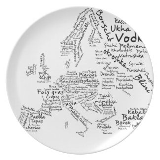 Food Map of Europe Dinner Plate