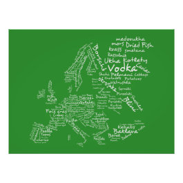 Food Map of Europe (Green) Print